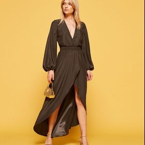 NWT Reformation Rosalina Silk Midi Maxi Wrap Dress